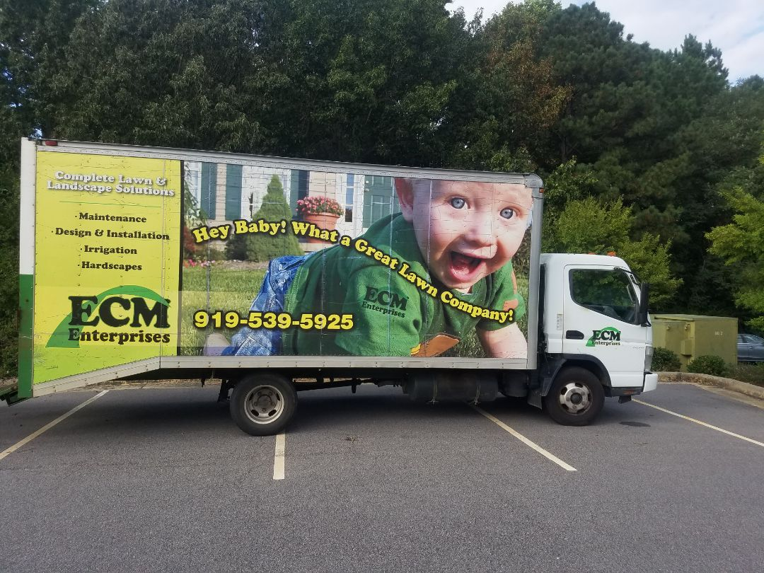 Raleigh, NC - I was off to the bank and saw a rap so we did 10 years ago still on the road companies still doing great. Check out the box truck wrap for ECM Landscaping!