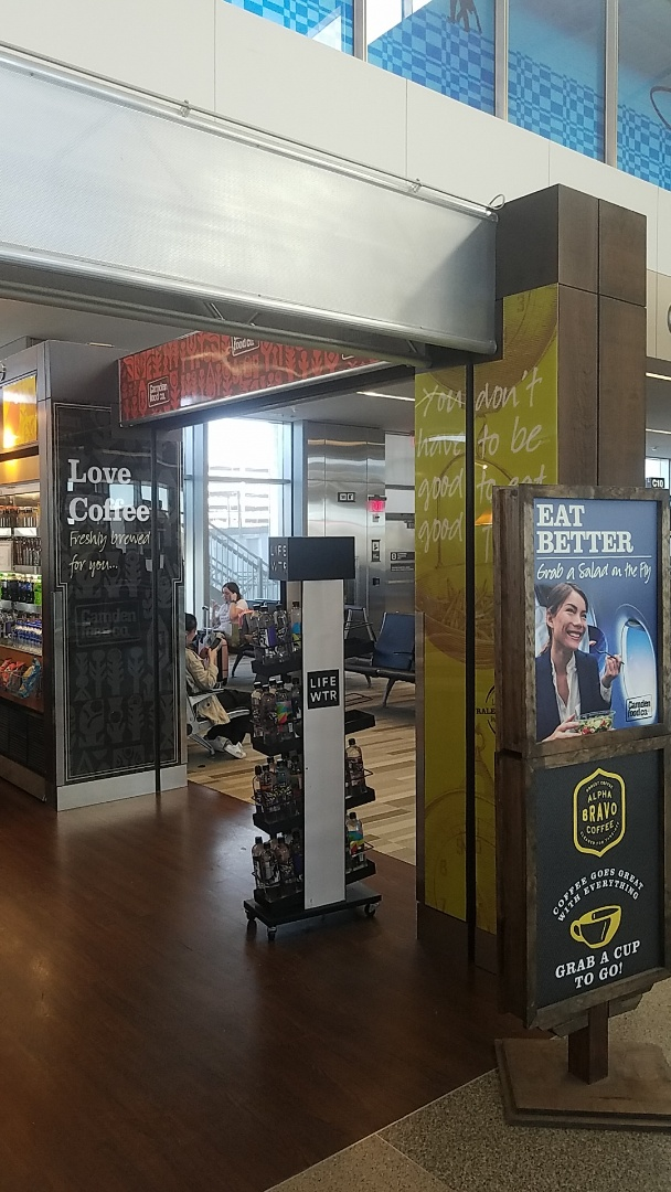 Raleigh, NC - Check out the new look for Camden Foods at the airport. We just put up new acrylic second surface printed signs to give it at splashy new look! Retail build outs are becoming our specialty