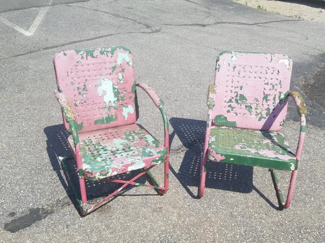 Raleigh, NC - We restore vintage metal furniture and wrought iron furniture.  After over 50 years of layers of paint, we sandblasted these 2 metal lawn chairs from the 1950's and powder coated them to look like new again!
