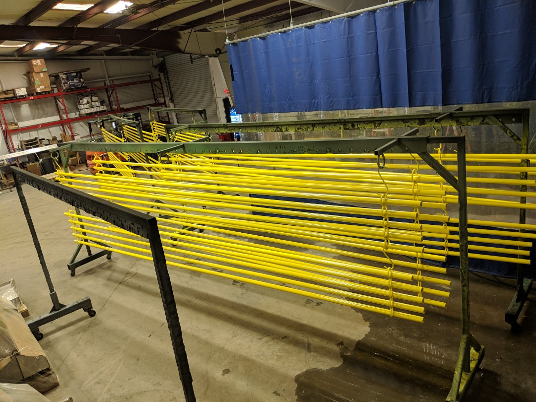 Raleigh, NC - Keeping someone's workplace safer by powdercoating safety railings in bright yellow!