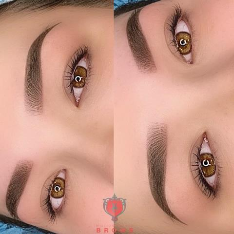 Soft ombre powder brows. Semi-permanent makeup.