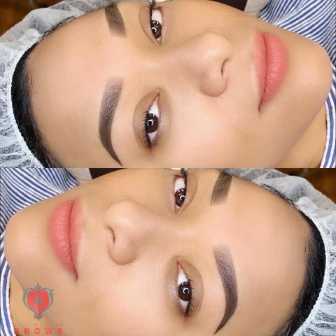 Lawrence, MA - Ombre powder brows for my beautiful lady.. Waking up with eyebrows cuts down your morning routine.
