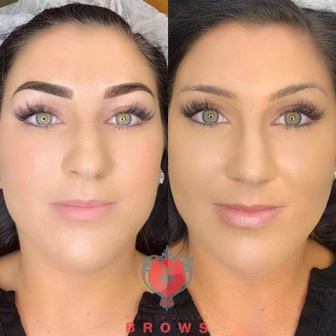 Ombre brows for this beauty! Ombre powder brows is also permanent makeup. It last a little longer than microblading and perfect for all skin types.