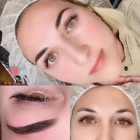 Auburn, NH - Combonation brows. Hairstrokes with shading. We love this method. It's great for all skin types. It's also called micro shading, semi permanent makeup. #microblading #permanent makeup