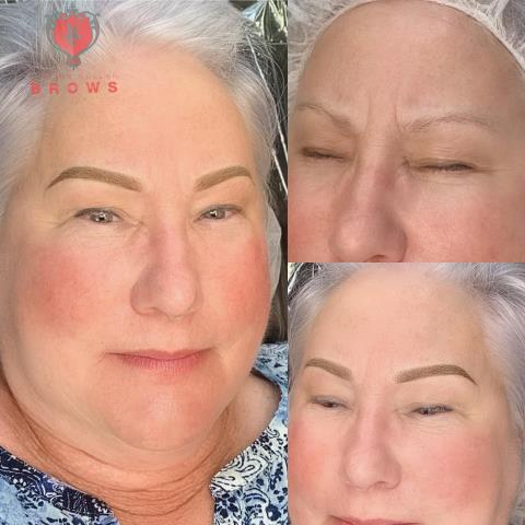 Ombre brows for this sweet lady. Good eyebrow symmetry can take years off the face.  Powder ombre brows will last 2-3 years. #microblading #permanent makeup #semipermanent make-up