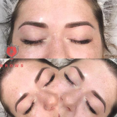 Wolfeboro, NH - Client wanted permanent makeup. She was torn between ombre brows or micoblading. I suggested hair stokes for the more natural look.