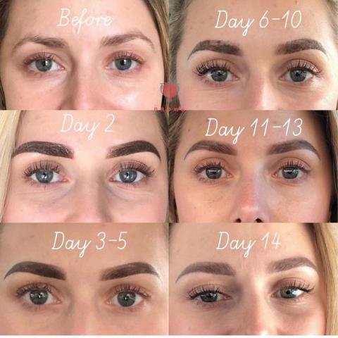 Portsmouth, NH - Microblading step by step: how your eyebrows heal from the procedure. Our Beautiful clients healed results.  #permanentmakeup #eyebrows #microblading #tattoo #eyebrowtattoo #brow #makeup