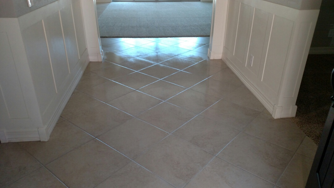Cleaned carpet, tile & grout and sealed grout for a new PANDA family The Bridges, Gilbert, AZ 85298.