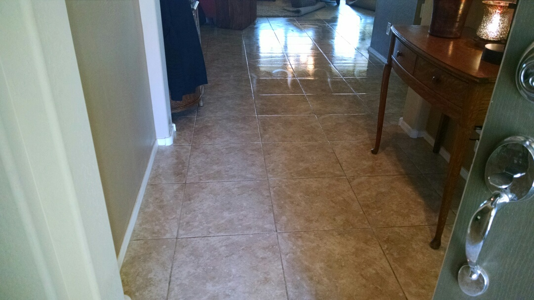 Cleaned carpet & cleaned / sealed tile & grout for a regular PANDA customer in Florence AZ 85132.