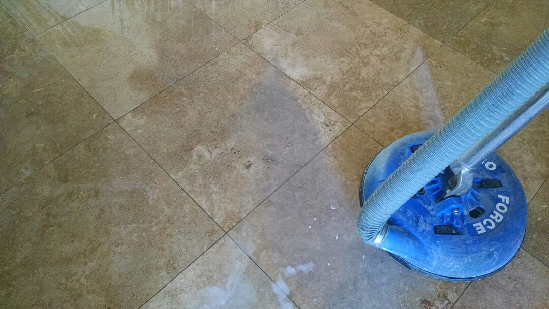 Cleaned Travertine tile for a new PANDA family in Gilbert AZ 85296.