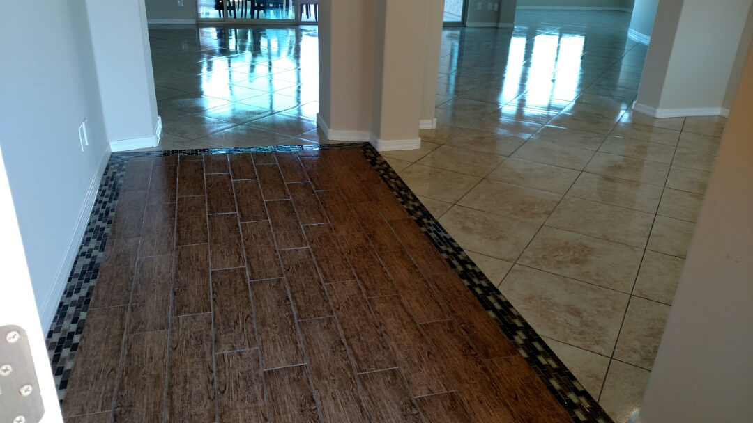 Cleaned & sealed tile and grout for a new PANDA family in Florence AZ 85132.
