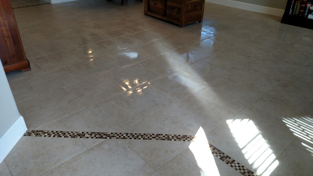Cleaned tile and grout for a new PANDA family in Mesa AZ 85209.