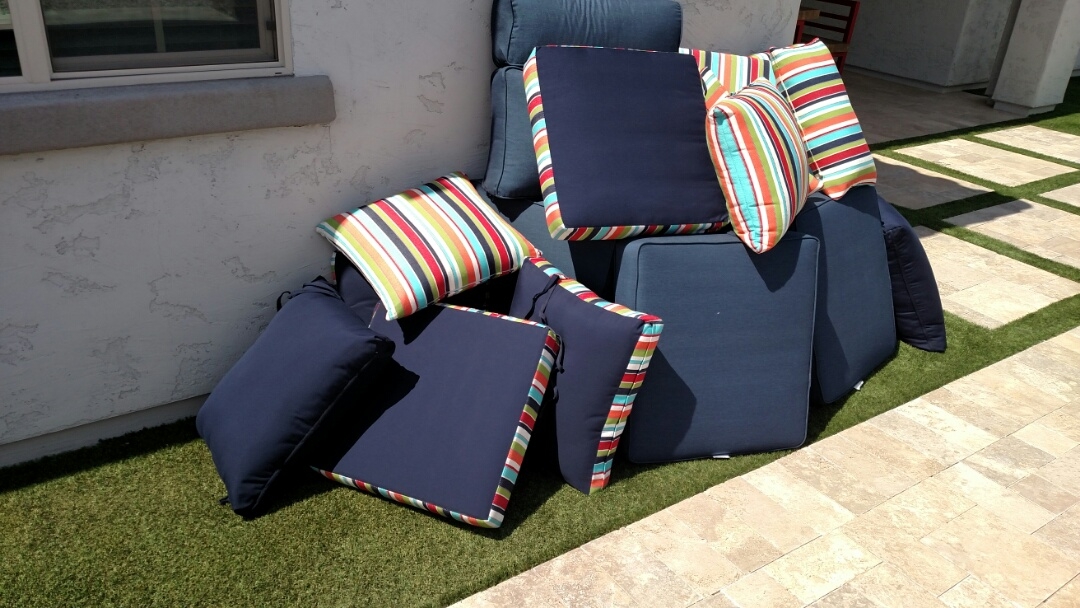 Cleaned patio furniture cushions for a regular PANDA Family in Chandler, AZ 85286.