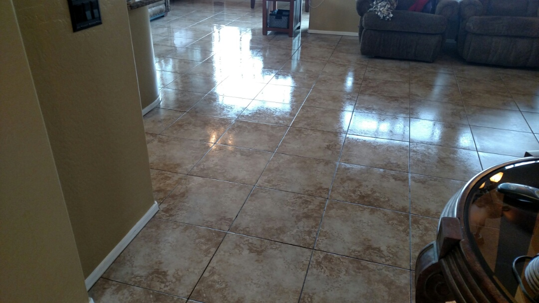 Gilbert, AZ - Cleaned and sealed tile and grout for a new PANDA family in Trilogy, Gilbert, AZ 85298.