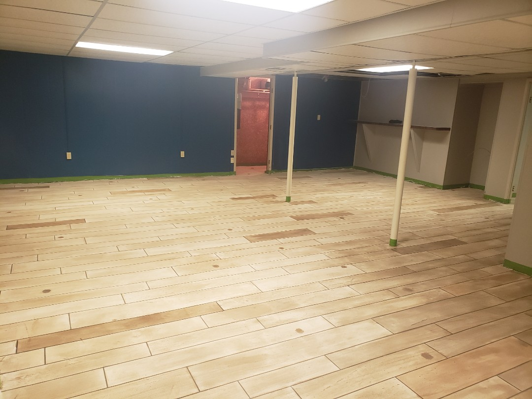 Eaton, OH - Epoxy basement rustic concrete wood floor finish
