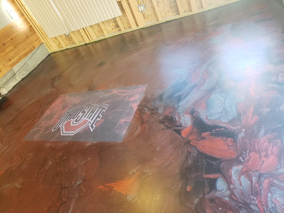 Van Wert, OH - Metalic marble epoxy basement flooring
