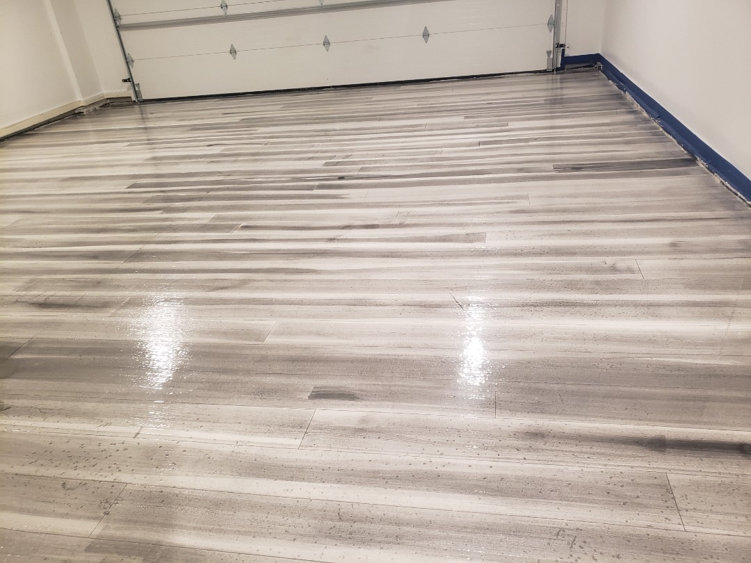 Van Wert, OH - Epoxy basement resurfacing Metalic marble,  rustic concrete wood tile.