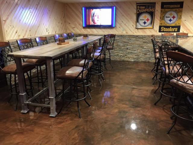 Xenia, OH - This marble floor looks perfect! Definitely a floor that both employees and customers can enjoy be on and lift their moods a little! American Dynamic Coatings knows how to make the floor the exact shades you want to make everything in the room work together and pop! I really love the way this floor looks!