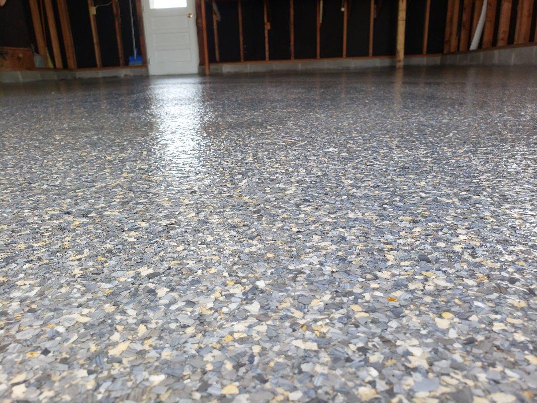 Epoxy flake garage flooring resurfacing