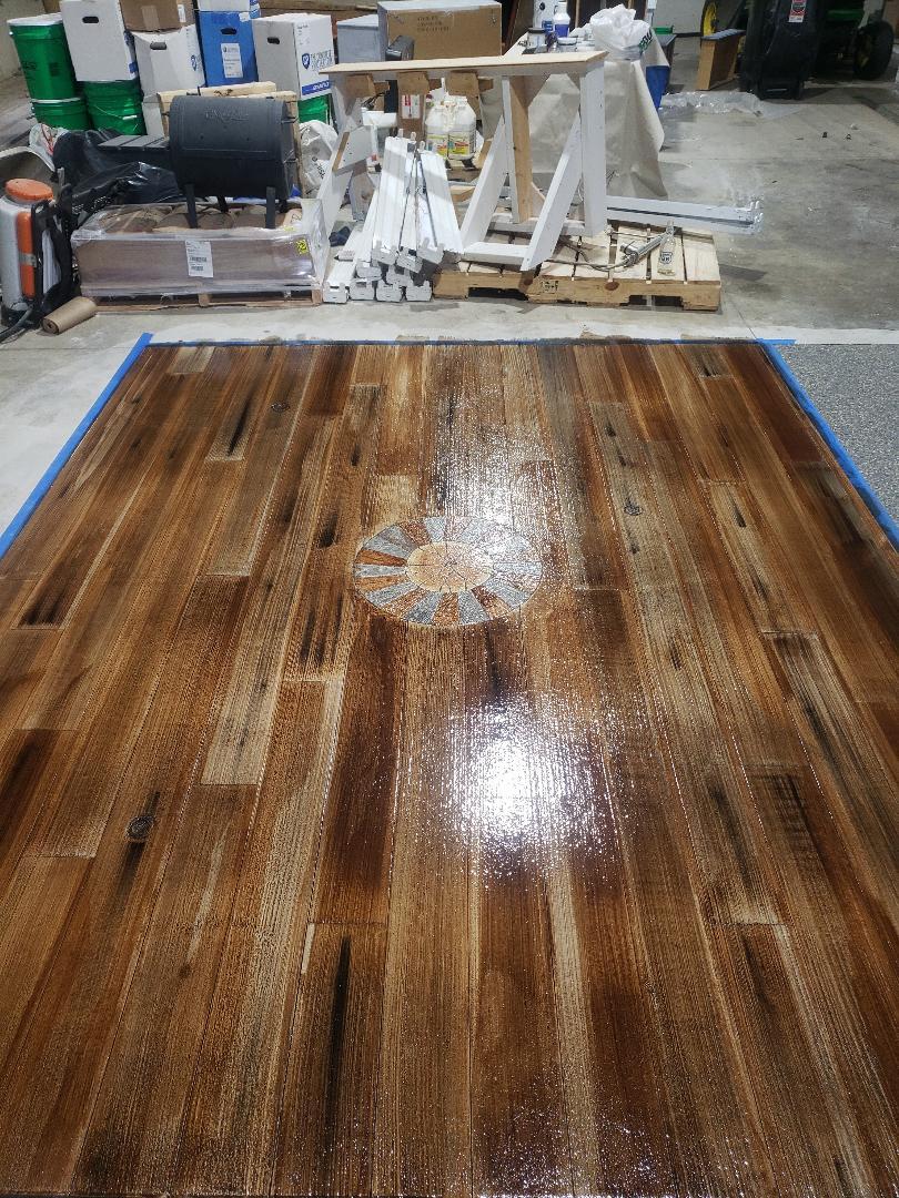 Celina, OH - Rustic concrete wood epoxy basement flooring resurfacing waterproof flooring