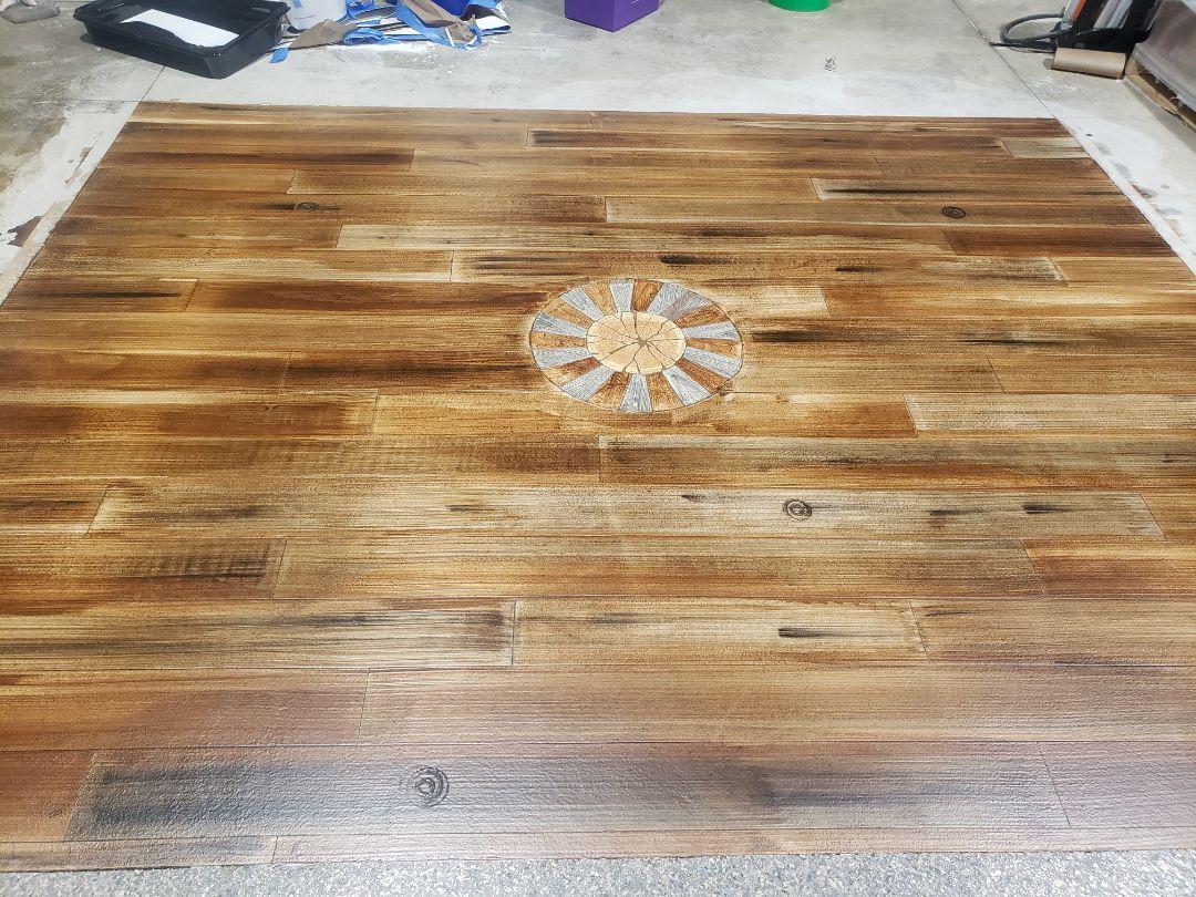 Celina, OH - Custom concrete wood epoxy basement flooring resurfacing waterproof flooring