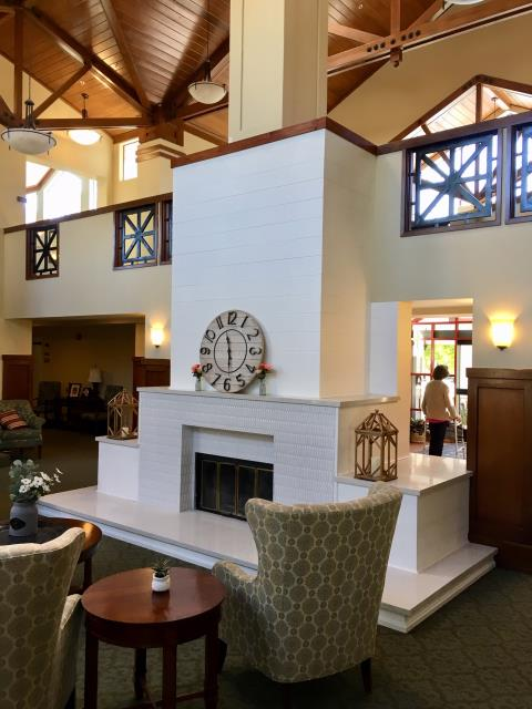 Sonoma, CA - Completed a new fireplace and reception area at the Brookdale Sonoma Senior Living Center.