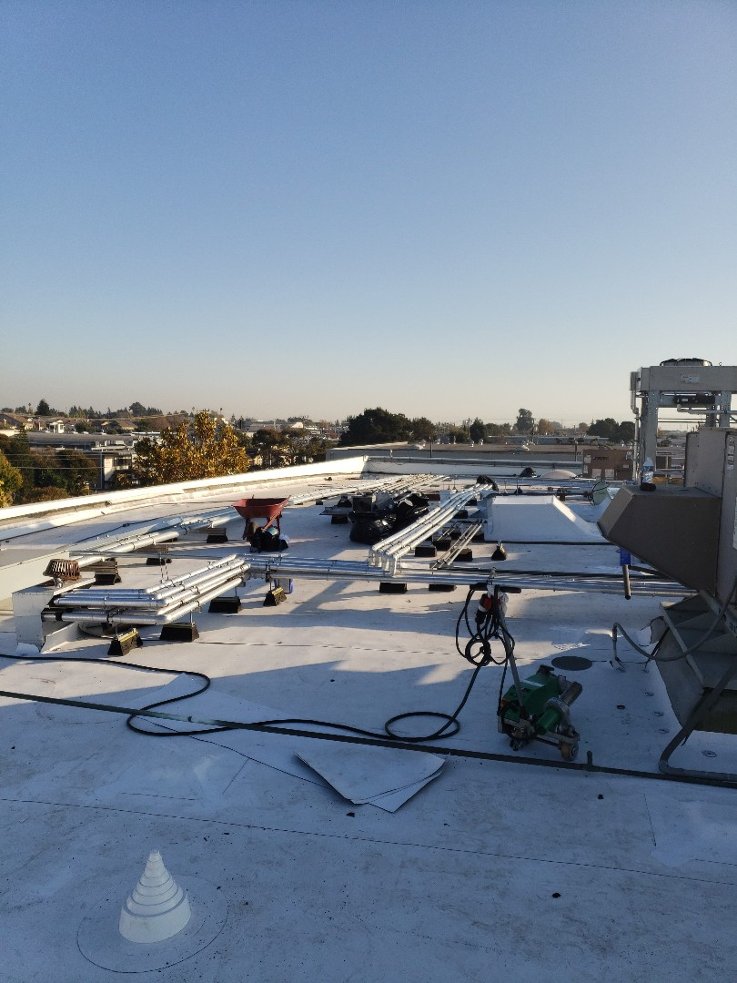 Hayward, CA - New Carlisle TPO roof, being installed by our Allied Roofing team.