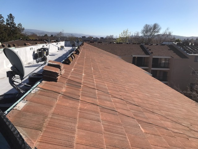 San Jose, CA - Our commercial roofing team at Allied Construction Services has made incredible progress placing tiles on the roof near Blossom River way in San Jose.