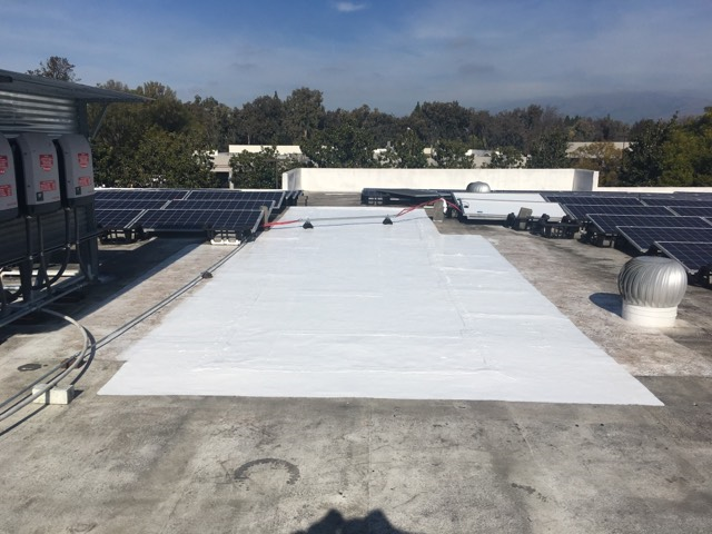 San Jose, CA - Our commercial roofing and construction team here at Allied Construction Services repaired this roof near Ringwood Ave in San Jose, CA, by applying mastic to any damaged areas that were on the roof previously.