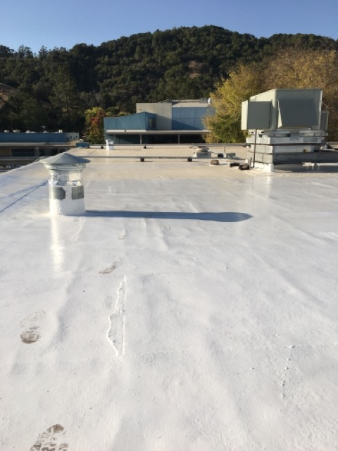 San Rafael, CA - Our commercial roofing team here at Allied Construction Services did a fresh coating on this roof near Nova Albion way in San Rafael, CA.