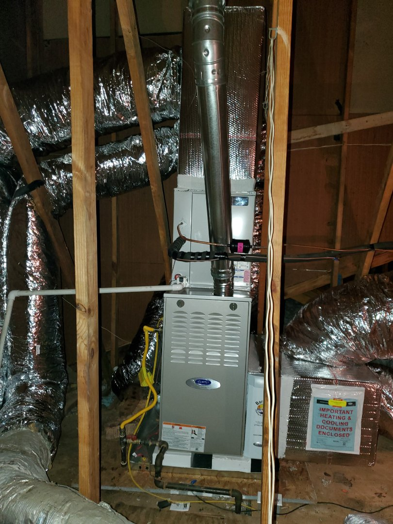 Atlanta, GA - Installed new Carrier Infinity 2 stage variable speed gas furnace with 16 seer condensor and Carrier Infinity WIFI Thermostat