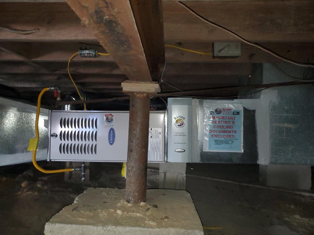 Smyrna, GA - Installed new Carrier gas furnace and Aprilaire media filter