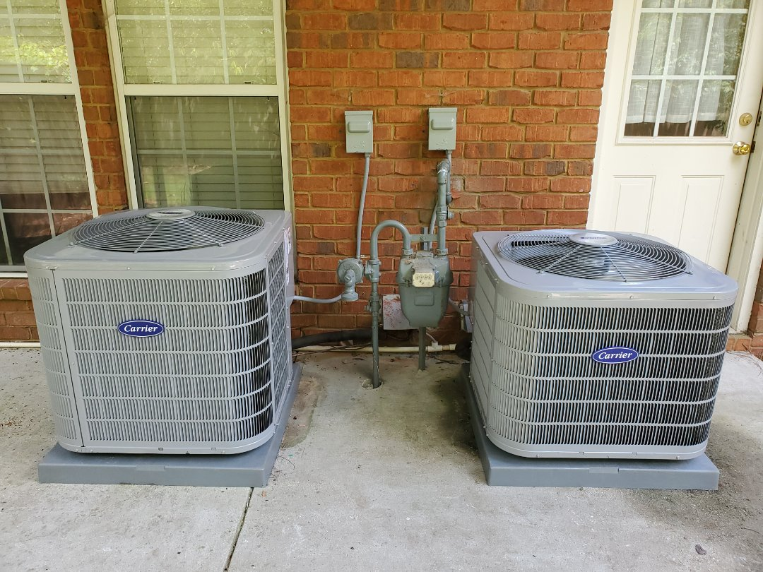 Atlanta, GA - Installed 2 new Carrier 16 seer condensers  with 2 new Carrier gas furnaces and Aprilaire media filter s