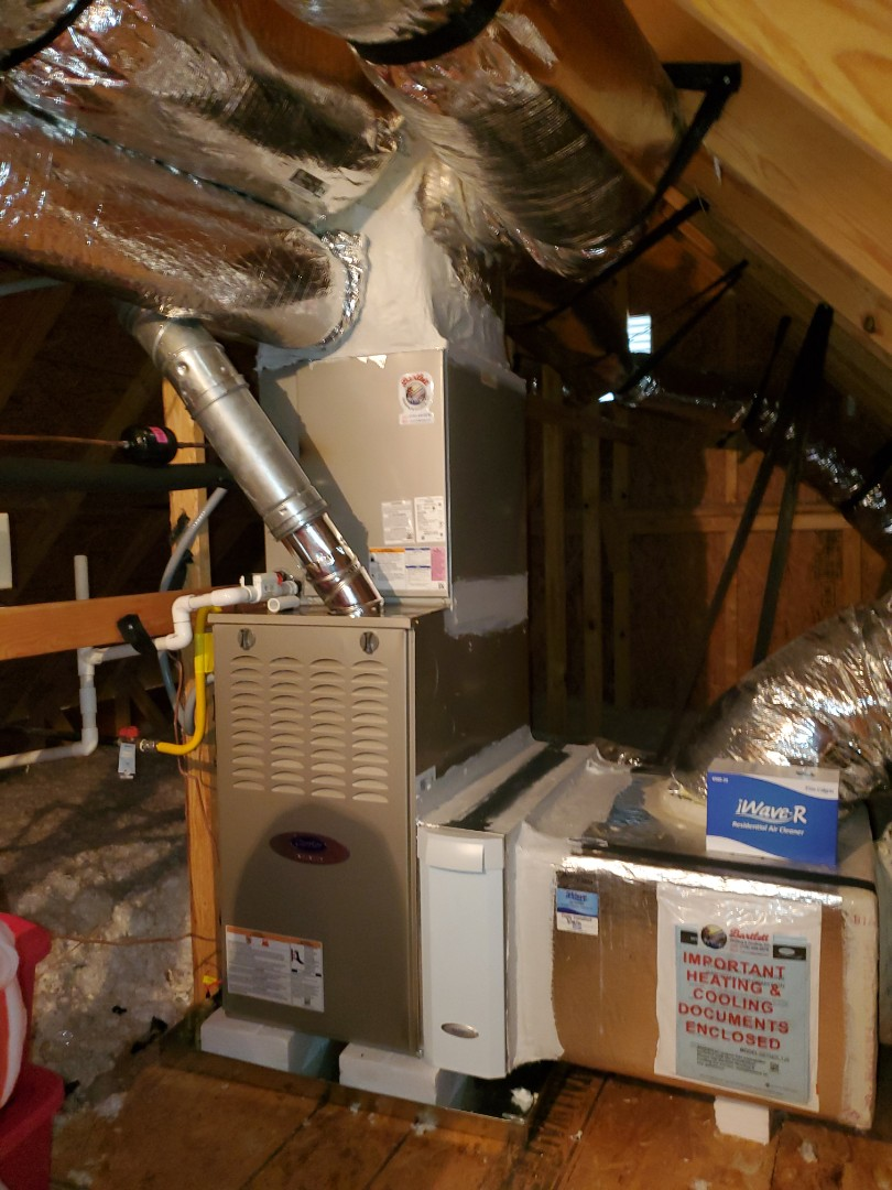 Smyrna, GA - Installed new Carrier 14 seer condenser and Carrier 2 stage variable speed gas furnace and Aprilaire media filter
