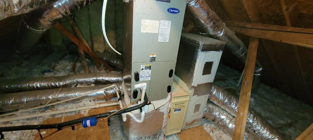 Powder Springs, GA - Performed Heat Maintenance on a Carrier Air Handler and a Rheem Air Handler. Powder Springs