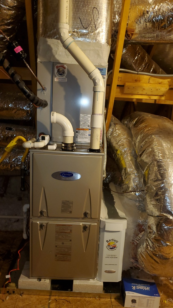 Roswell, GA - Installed new Carrier 5 stage condenser with Infinity 2stage variable speed gas furnace Infinity Mytouch WIFI Thermostat and Aprilaire media filter