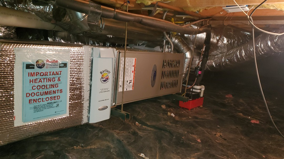 Atlanta, GA - Installed new Carrier 16 seer condenser with Carrier 2stage variable speed gas furnace and Aprilaire media filter