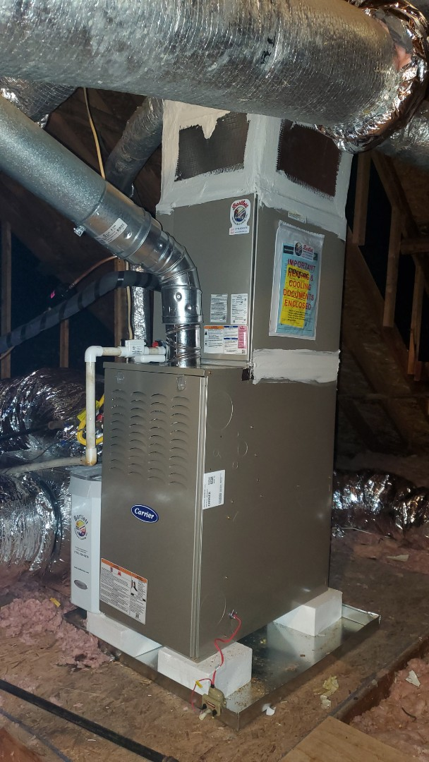 Marietta, GA - Installed new Carrier 14 seer condenser with Carrier gas furnace and Aprilaire media filter