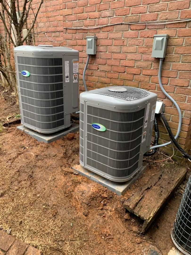 Marietta, GA - Installed 2 new Carrier Infinity 5 stage condenser with Carrier Infinity 2stage variable speed gas furnace and Infinity Mytouch WIFI Thermostat and Aprilaire media filters