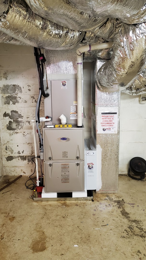Atlanta, GA - Installed new Carrier 16 seer condenser with 96% Carrier gas furnace and relocated furnace