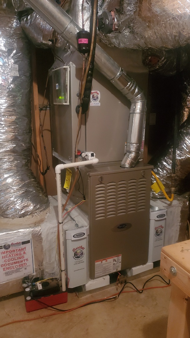 Mableton, GA - Installed new Carrier 16 seersucker with Carrier 2stage variable speed gas furnace and Ecobee Wifi Thermostat and Aprilaire media filter for main floor and Carrier 2stage variable speed gas furnace and Ecobee Wifi Thermostat and Aprilaire media filter for upstairs