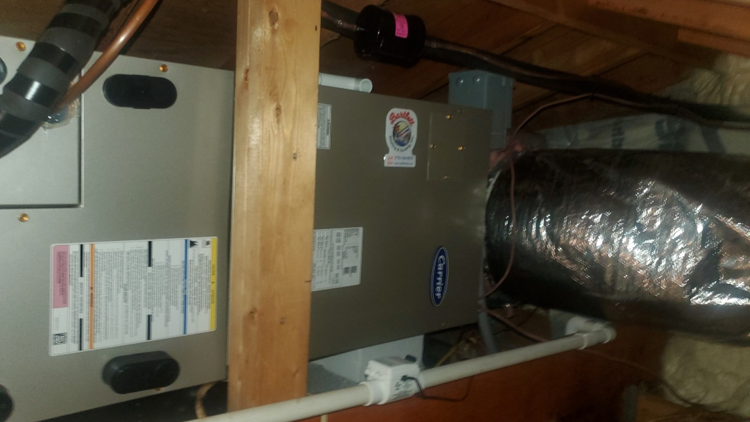 Sandy Springs, GA - Installed new Carrier Infinity 5 stage Heatpump with Carrier Infinity Airhandler and Infinity Mytouch WIFI Thermostat and Aprilaire media filter