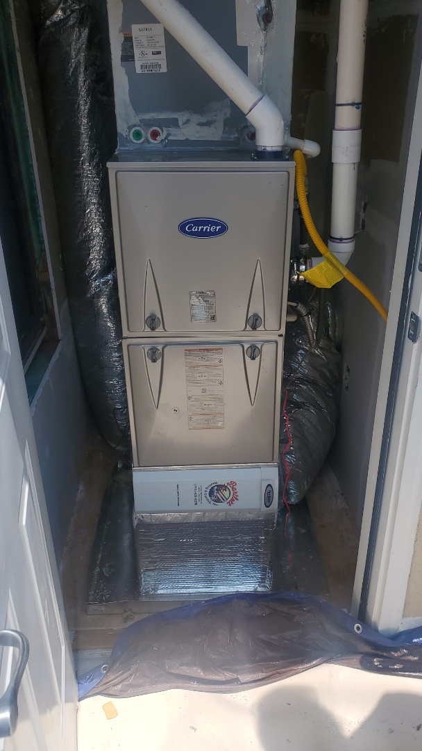 Atlanta, GA - Installed new Carrier 90% gas furnace with Aprilaire media filter