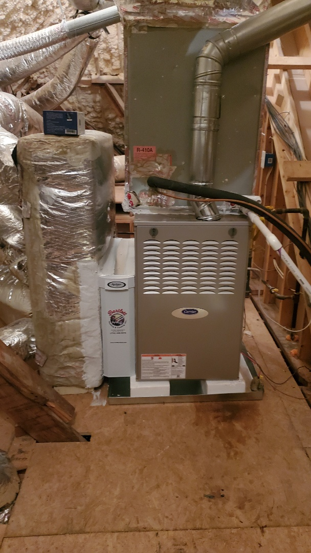 Smyrna, GA - Installed new Carrier 2stage variable speed gas furnace with Aprilaire media filter and Ecobee Wifi Thermostat