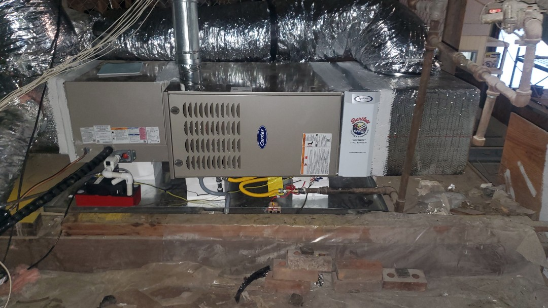 Smyrna, GA - Installed new Carrier 24 seer condenser with Carrier gas furnace and Aprilaire media filter
