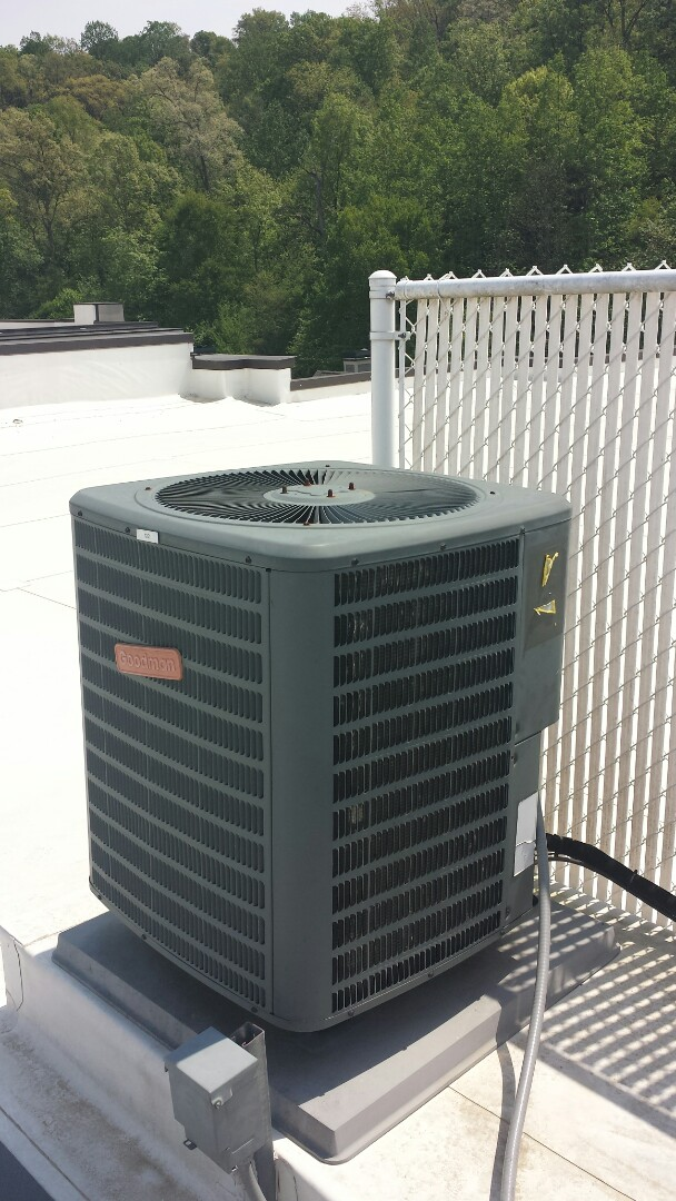 Sandy Springs, GA - Routine cooling maintenance on 1 Goodman air conditioner on roof top.