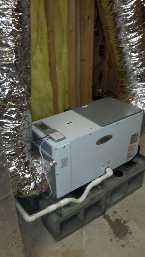 Mableton, GA - Installed Aprilaire dehumidifier for basement system.