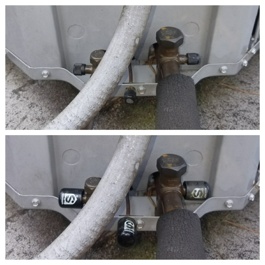 Atlanta, GA - Heat pump repair, installed locking service caps on heat pump.