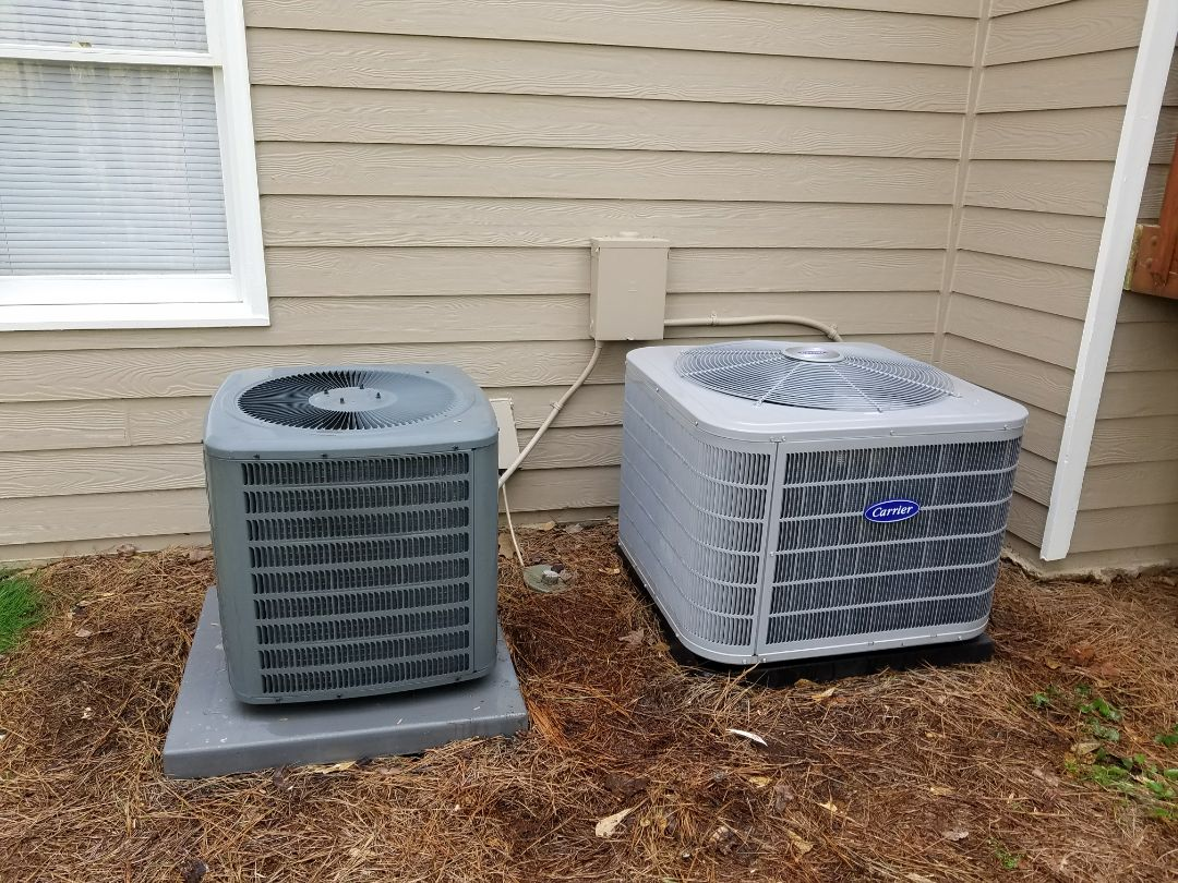 Kennesaw, GA - Performed A.C. Maintenance on a Carrier Condensing unit and a Goodman. Kennesaw