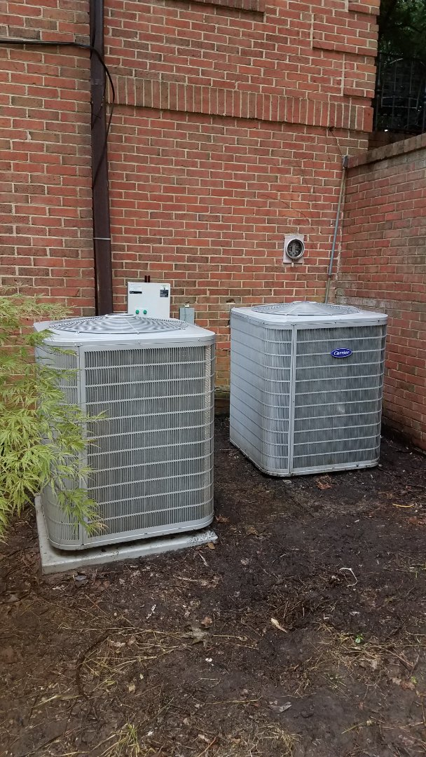 Atlanta, GA - Annual cooling service on 2 Carrier air conditioners.